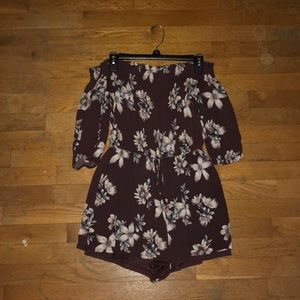 Dark purple floral romper